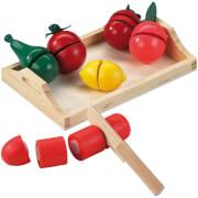 Holztablett mit Holzobst und Gemüse