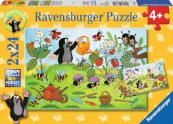 Ravensburger 088614 Puzzle Der Maulwurf im Garten 2x24 Teile