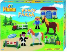HAMA Bügelperlen Midi - Geschenkpackung Ponyhof - 2 Stiftplatten (Pferd, Haus) 4