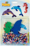HAMA 4058 Bügelperlen Set Meer Midi, 1.100 Stück, 2 Stiftplatten, für Kinder ab 5 Jahren